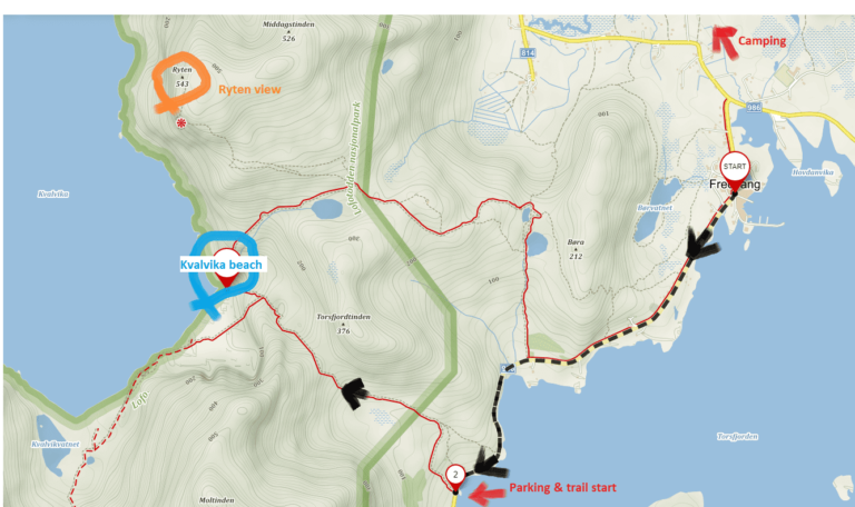Google map of Kvalvika displaying points of interest