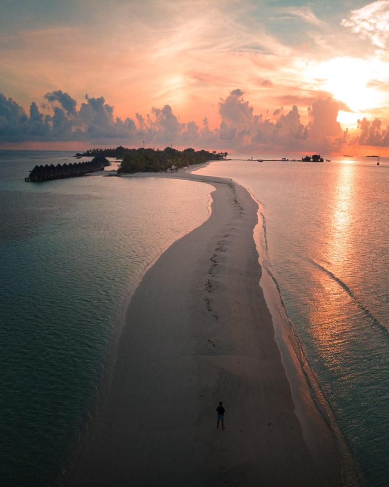 Incredible Drone shot of Maldives beach during sunset