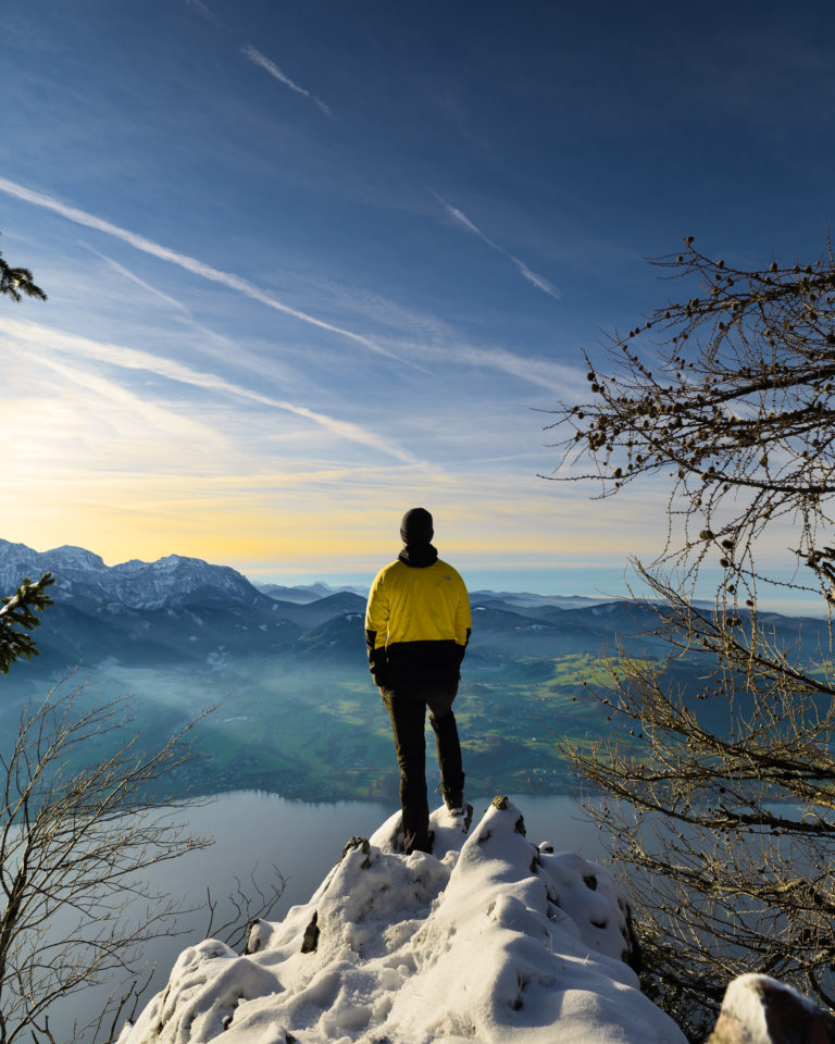 Landscape View from Traunstein mountain during sunset