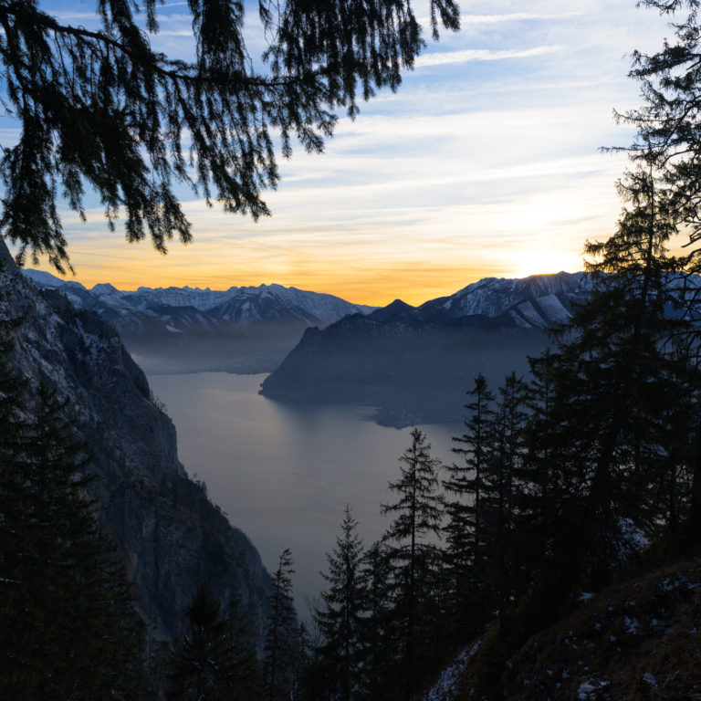 View of Traunsee mountain and huge lake in Austria during sunset