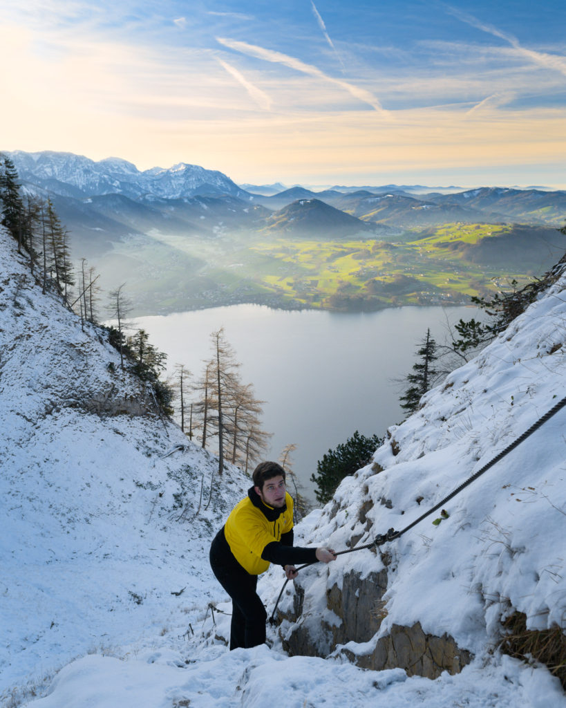Knight On Trip hiking in Traunstein and background view of stunning landscape