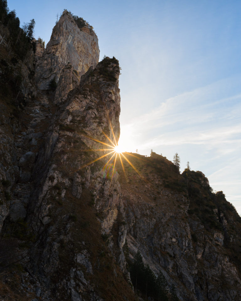 Landscape photography of mountain top during hike in Traunstein