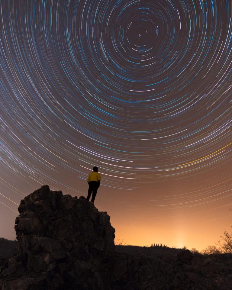 Watching Night Sky in Prague - Star Trails