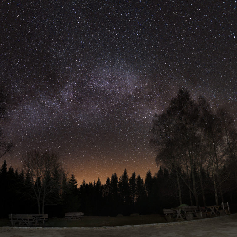 Astrophotography of view of the Milky Way at Plešné Lake