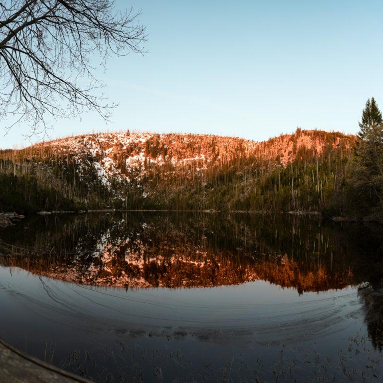 Landscape Photography of Early Sunrise at Plešné Lake