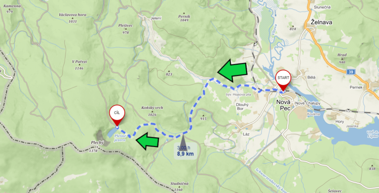 Map of the trail to Plešné Lake