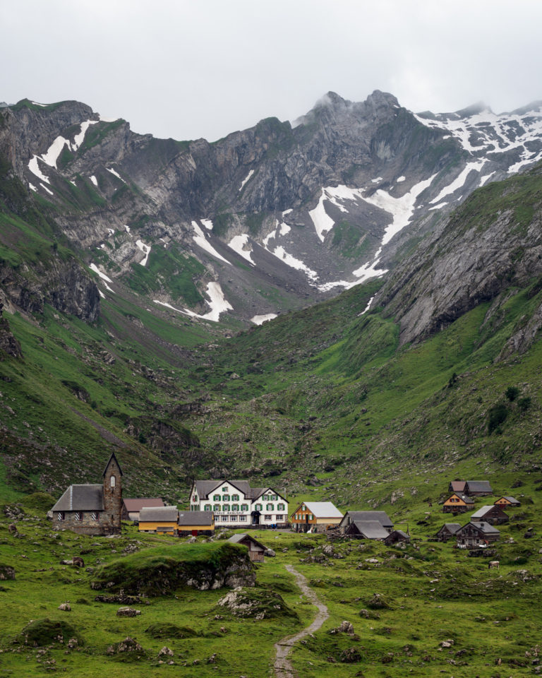 Meglisalp view with mountains in Alpstein