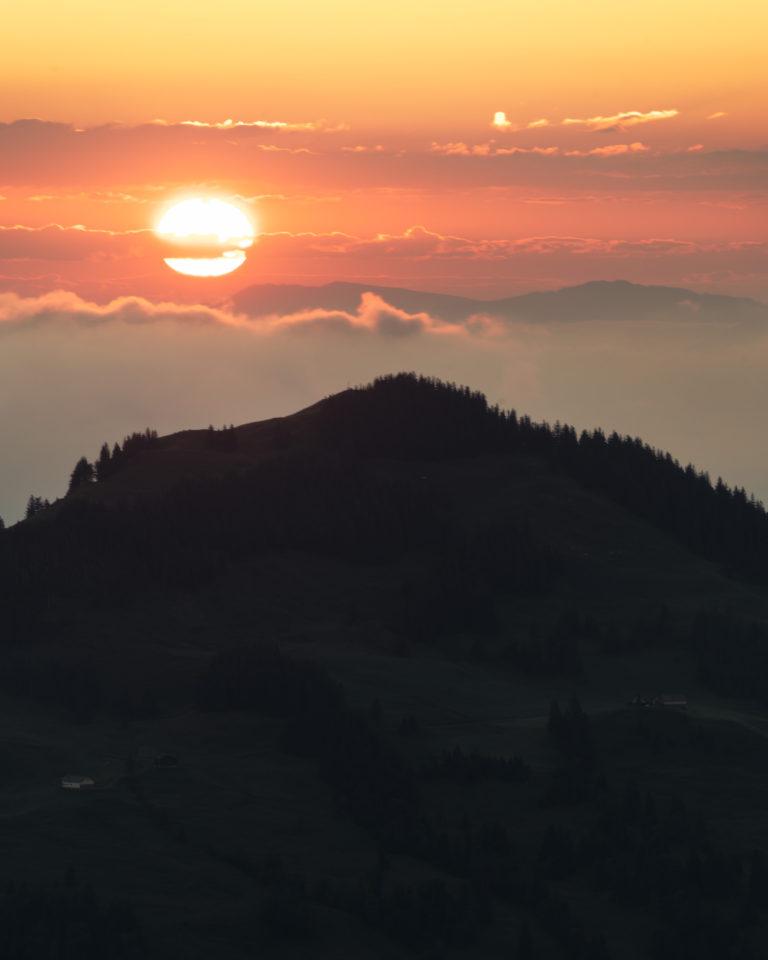 Sunrise view from Ebenalp mountain in Switzerland