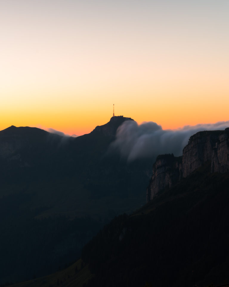 Sunrise view from Ebenalp mountain in Appenzell
