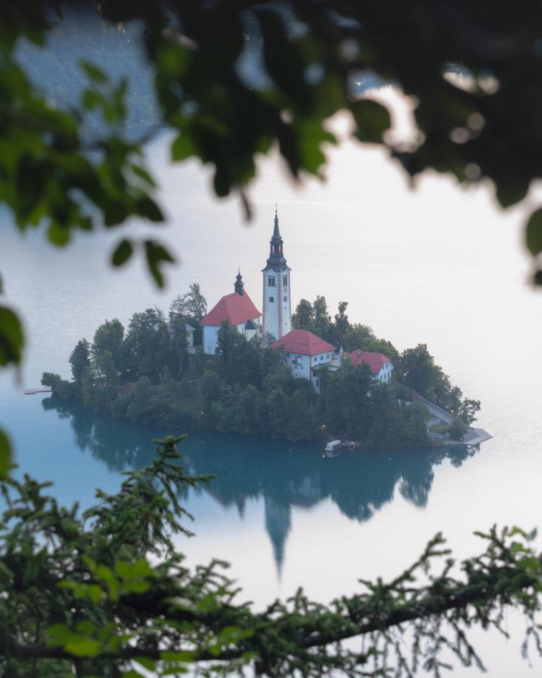 Bled island at sunrise in Slovenia
